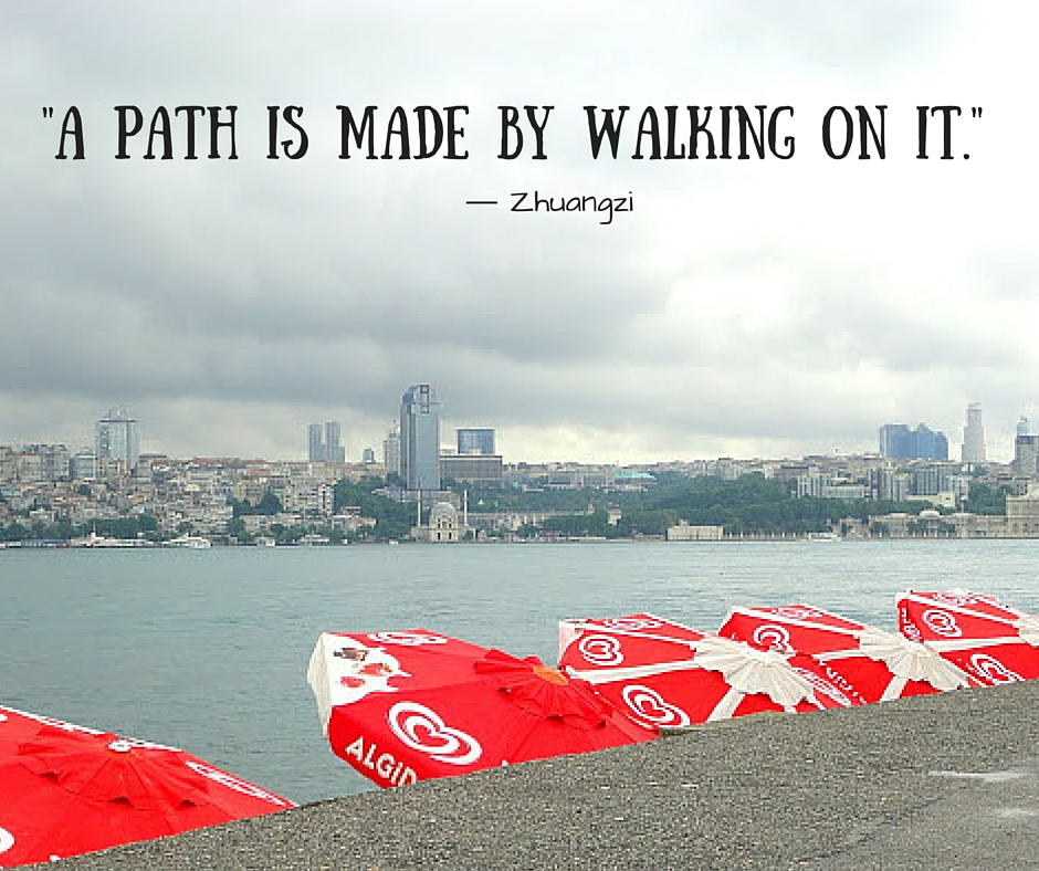As people are walking all the time, in the same spot, a path appears. (1)