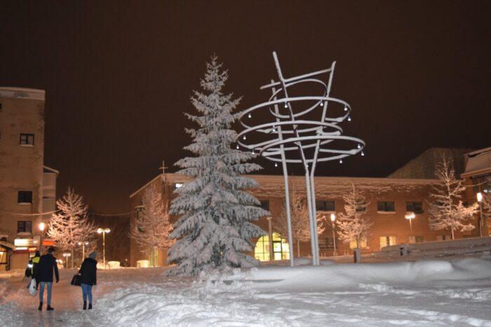 Stockholm, Kista Torg, Sweden, Snow Storm, November 2016