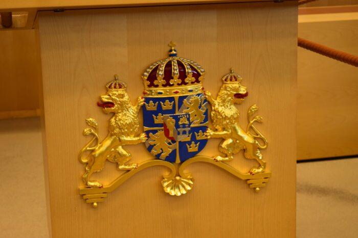 Rostrum, Swedish Coat of Arms, Swedish Riksdag, Stockholm, Sweden, Riksdagen, Riksdagshuset, Sverige