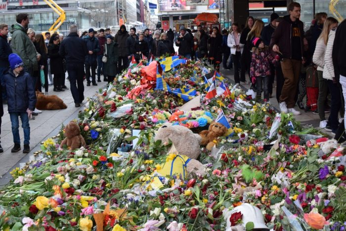 Drottninggatan, Stockholm, Sweden, Flowers, Terrorist Attack