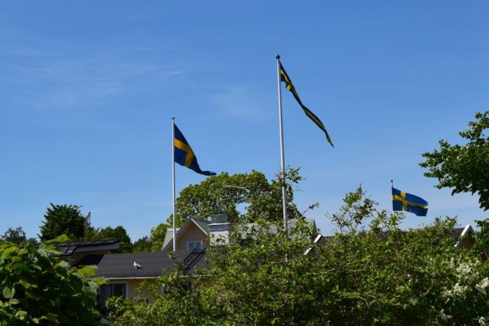 Swedish flags, Svenska flaggan, Trosa, Sweden