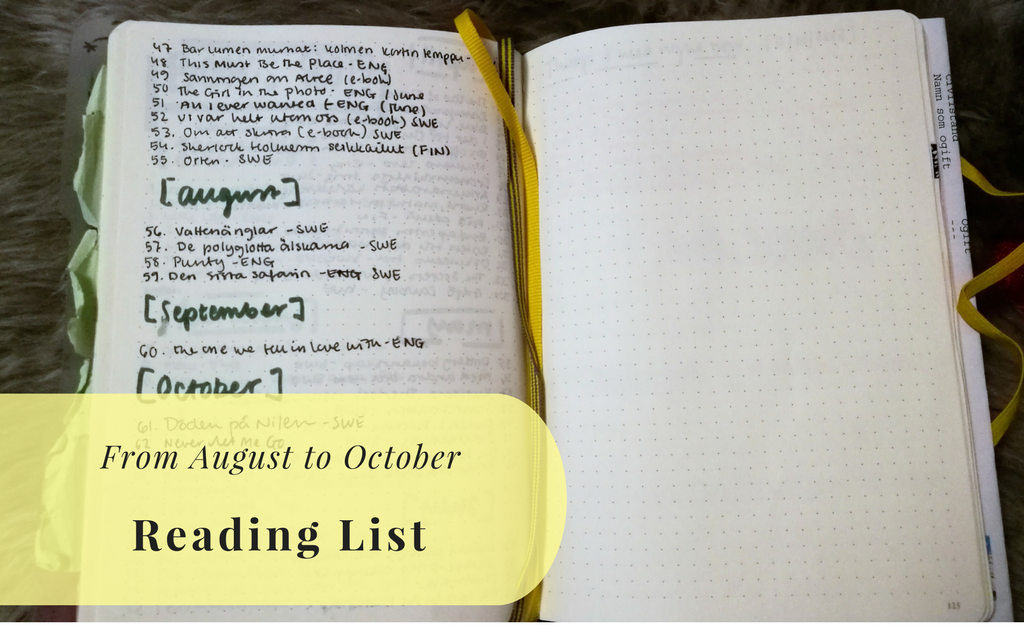 Reading List for August to October 2017