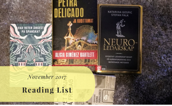 Reading challenge 2017, Reading list for November